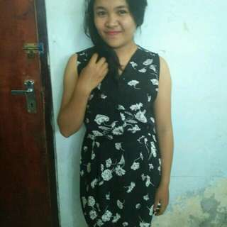 Dress Black Bunga