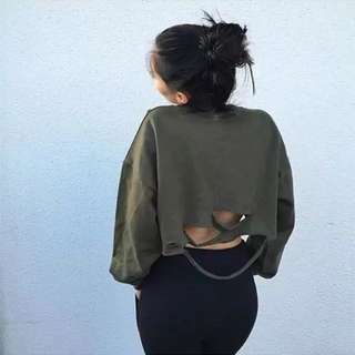 [RS] Ripped Long Sleeve Loose Crop Top