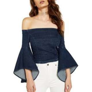 Bardot Denim Off Shoulder Top