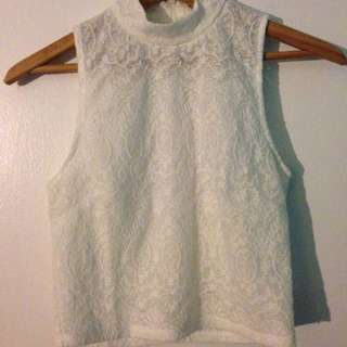 WHITE LACE SLEEVELESS MOCK NECK