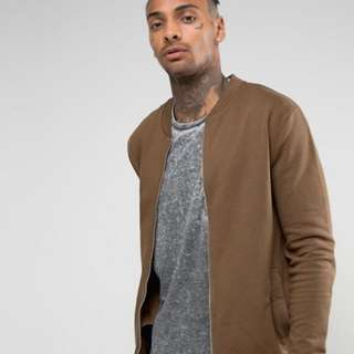 ASOS Khaki Bomber Jacket With Gold Zipper
