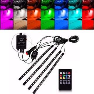 4pcs Flexible Car Styling RGB LED Strip Light 18LED Floor Car Interior Light