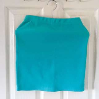Blue Green Forever 21 Pencil Skirt