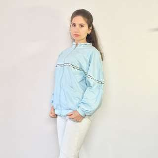 Vintage 80s Katie's Baby Blue Zip Up Bomber Jacket