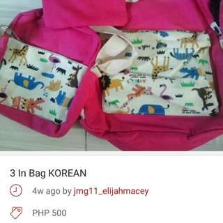 Free Shipping! Sale 3 In 1 Korean Bag