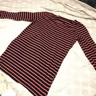 Black Pink Strip Blouse