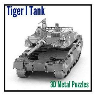 "3D Metal Puzzles - Panzerkampfwagen VITigerAusf. E ""Tiger I"", Sculpture, Birthday Gift, German, World War 2, Display, Flatpack"