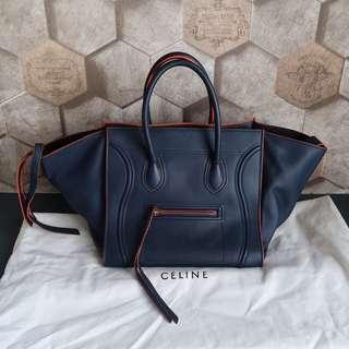 Celine Phantom Navy Blue & Orange Trimmed Leather