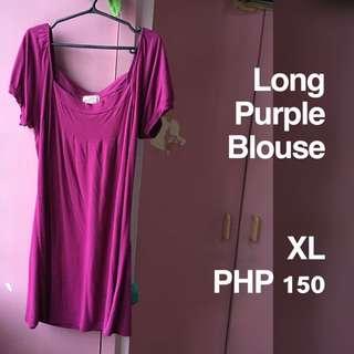 Plus Size Long Purple Blouse