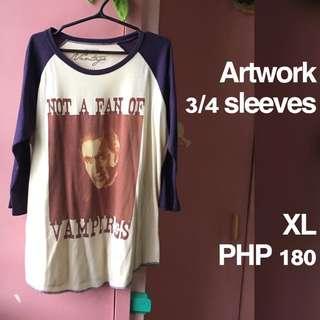 Plus Size Artwork 3/4 Sleeves