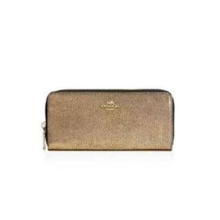 Coach slim accordion gold zip wallet
