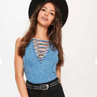 MISSGUIDED Blue Washed Ribbed Bodysuit