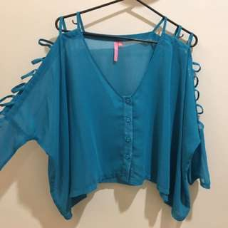 Dollhouse Turquoise Cut Out Sleeve Shirt