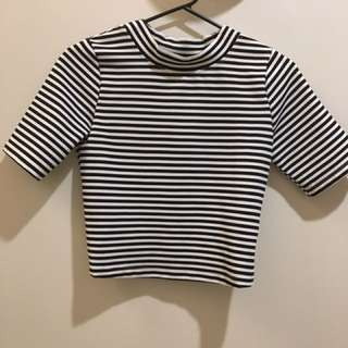 Glassons Black White Striped High Neck Crop