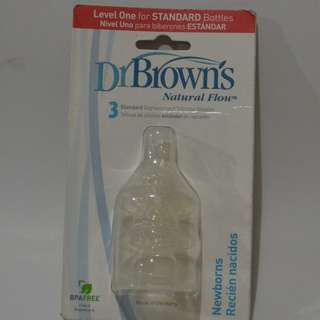 Dr. Brown's Natural Flow Level One Standard Replacement Silicone Nipples, 3 Pack Newborns