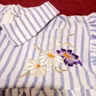 繡花條紋長袖