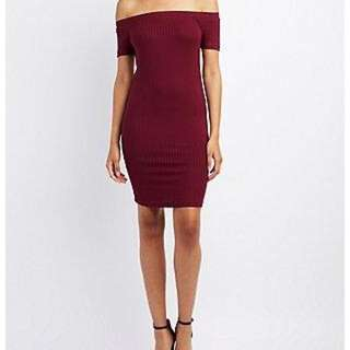 Maroon Off The Shoulder Bodycon Dress