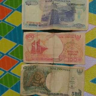 Uang Lama Rp100, Rp500, Dan Rp1000