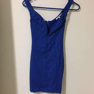 BLUE V - LOW CUT MINI DRESS