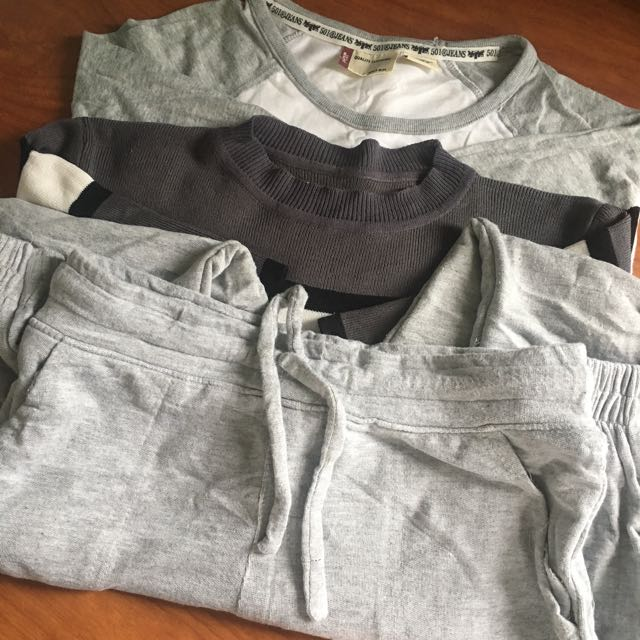 1 Levi's 3/4 Shirt, 1 Ribbed Gray Tee, 1 Jogger Pants