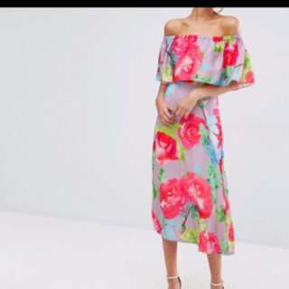 Brand New Every Cloud Rose Print Off The Shoulder Midi Dress BNWT