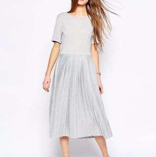 ASOS Pleated Midi Dress - Grey