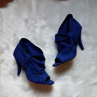 Blue Suede Open-toe High Heel Booties