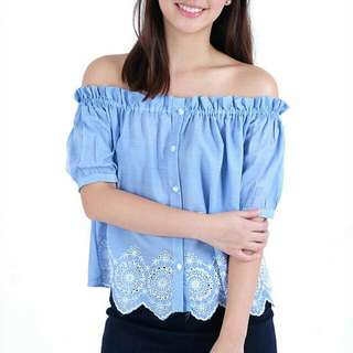 Twill Cavern Off Shoulder Embroidered Top