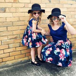 ✔ 2 For $41.80 Stylish Mother & Baby Girls Sleeveless Floral Dress