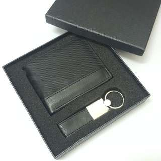 Men Wallet and Keychain Gift set (Black). Christmas sale.