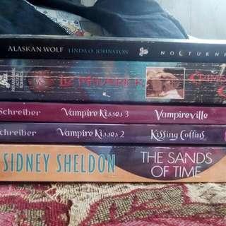 5 Books  The Sands Of Time By Sydney Sheldon (Filipino Edition) Vampire Kisses 2&3 By Ellen Schreiber (Filipino Edition) Alaskan Wolf By Linda O. Johnston (English) Crimson City By Liz Maverick (English)