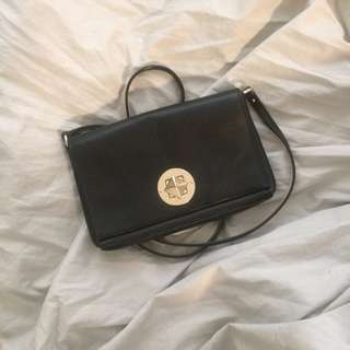 Kate Spade - Black Leather Turn-Lock Purse