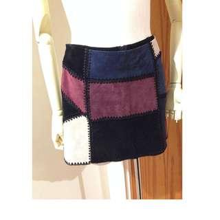 Brand New  ZARA Genuine Suede Leather Patchwork Skirt Size M