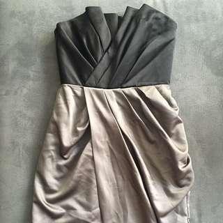 Vera Wang Taupe/black Evening Dress Size 4