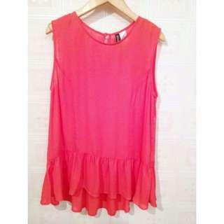 日本帶回~早春全新現貨H&M副牌DIVIDED素面素色寬版無袖雪紡上衣(橘粉色)