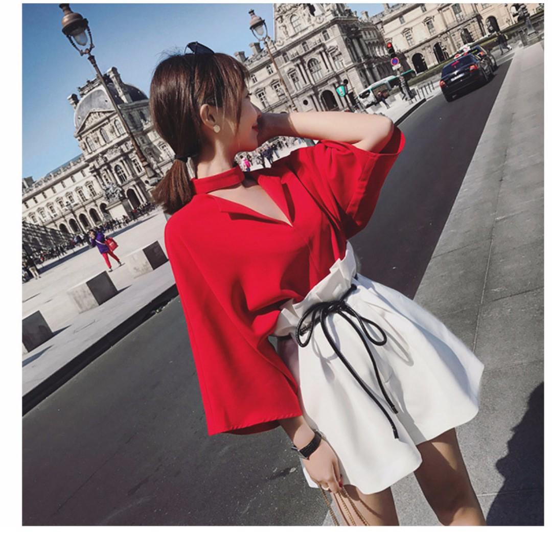 【兩件一套價】韓版洋氣時尚顯瘦開領上衣+高腰闊腿短褲兩件套*2色預購【CATJIN.SHOP⭐TB11-03】
