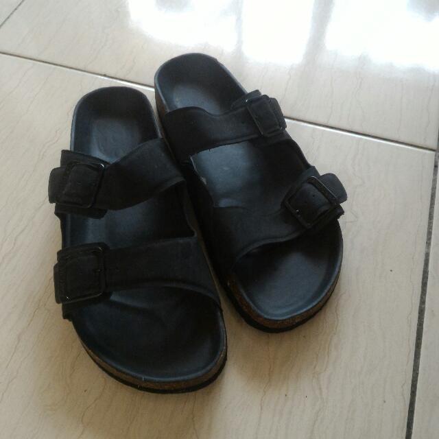 勃肯款黑色拖鞋-44碼