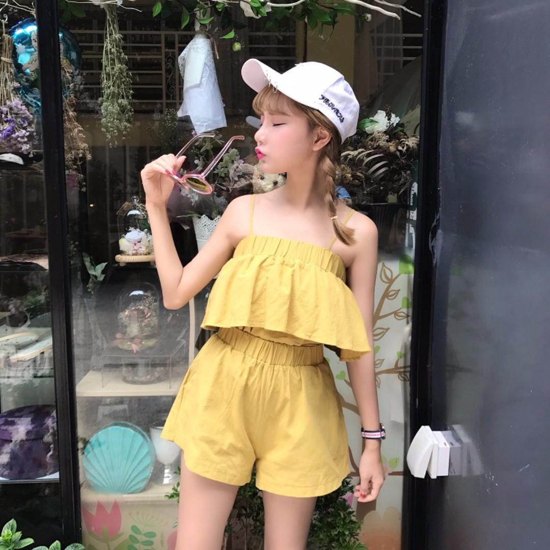 小清新時尚吊帶+顯瘦闊腿短褲兩件套*4色預購【CATJIN.SHOP⭐TB11-04】