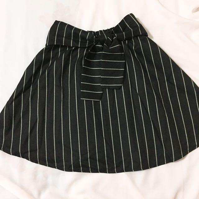 條紋綁帶鬆緊A字裙 全新