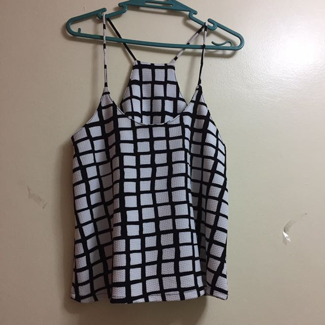 Black And White Spag Strap Top