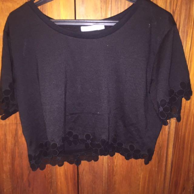 Black Floral Crop