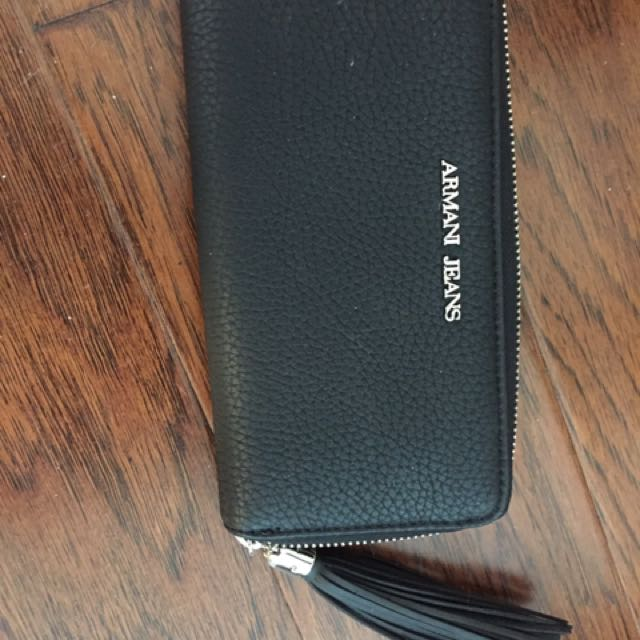 Black Leather Armani Jeans Wallet
