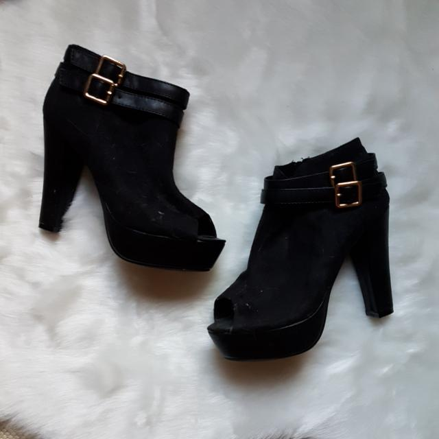 Black Suede Open-toe Heels