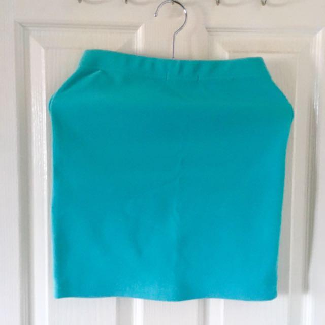 Blue Green Forever 21 Pencil Skirt