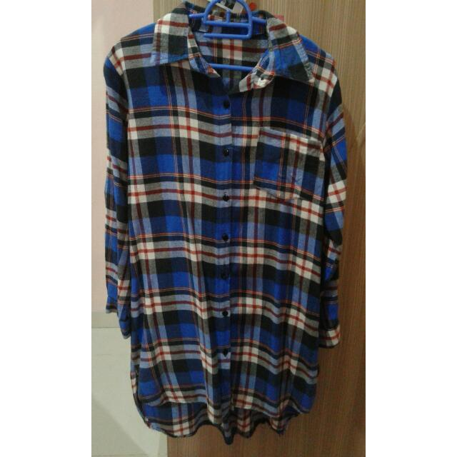 Blue Long Flannel
