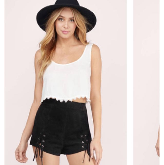 3ff86ca5d2559 BNWT TOBI white crop top with lace lining