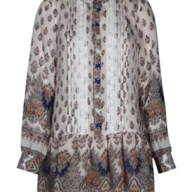 Boohoo Paisley Shirt Dress