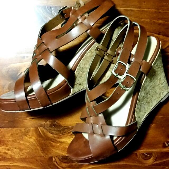 Brown Cork Wedge Strappy Sandals - Size 8