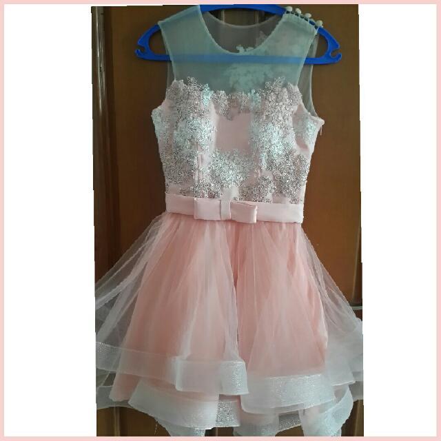 #ClearanceSale Dress Pesta Handmade Peach Murah