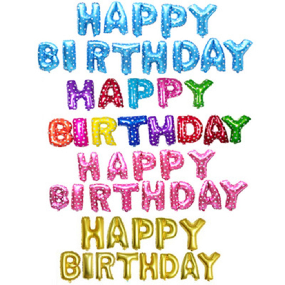 Colorful Happy Birthday Alphabet Aluminium Foil Balloon (Free Pump ...